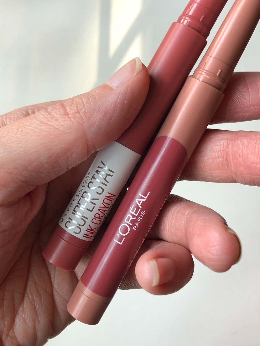 two matte drugstore lip crayons from L'Oreal and Maybelline