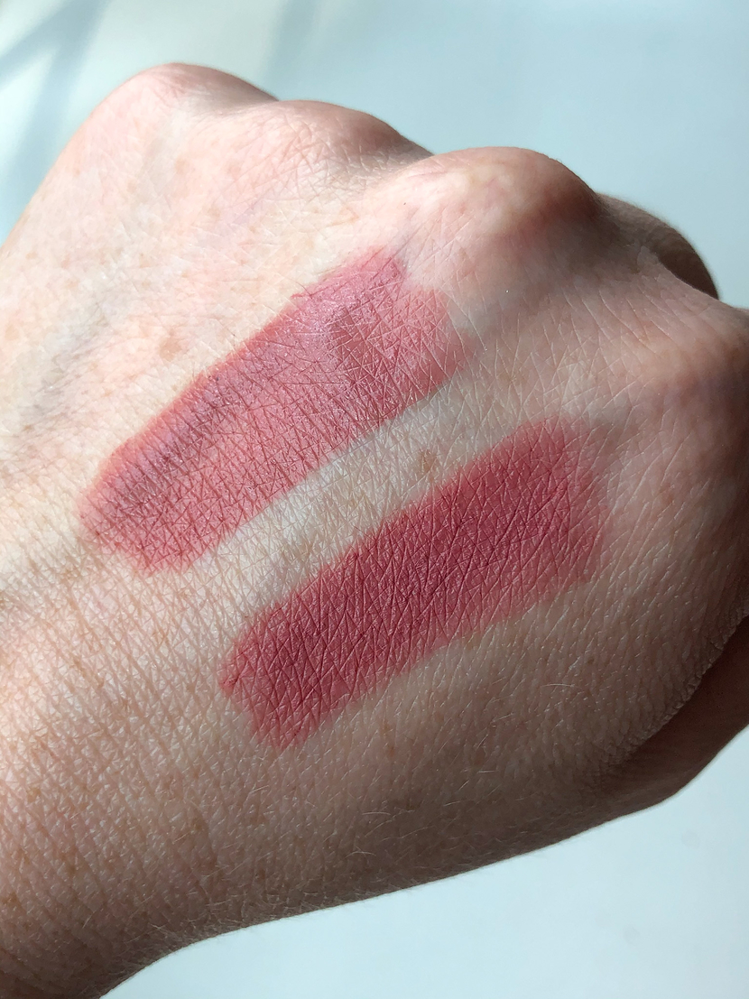 Swatches from left to right: Maybelline SuperStay Ink Crayon in Lead The Way; L'Oreal Infallible Matte Lip Crayon in Strawberry Glaze