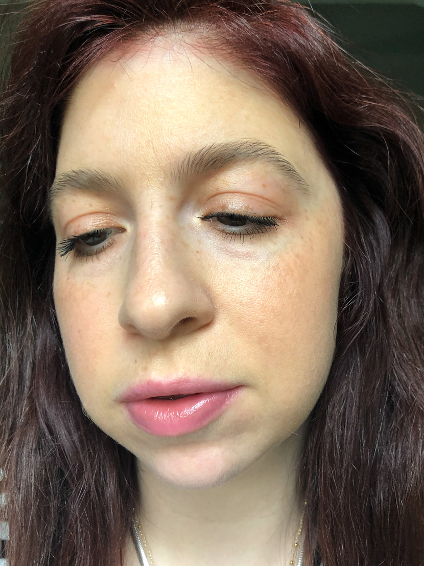 Showing the texture on the Jillian Dempsey Lid Tint in Peach