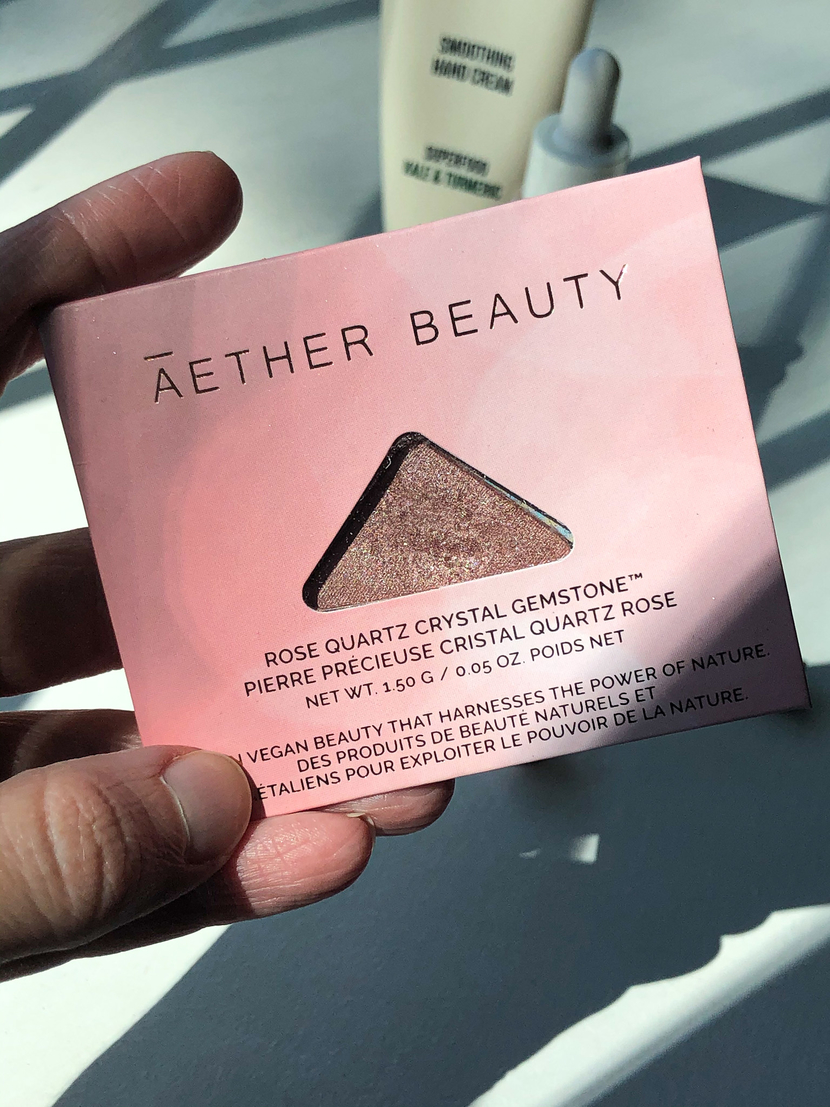 beauty bits I'm loving - Aether Beauty Rose Quartz Crystal Gemstone Eyeshadow