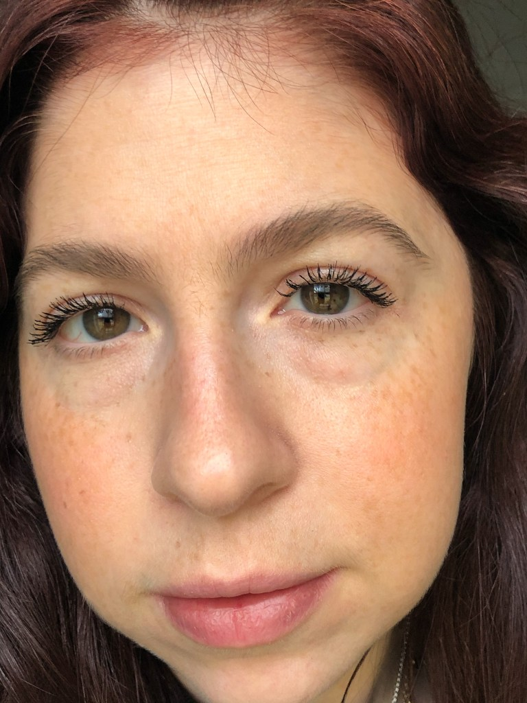 Wearing two coats of L'Oreal Air Volume Mascara