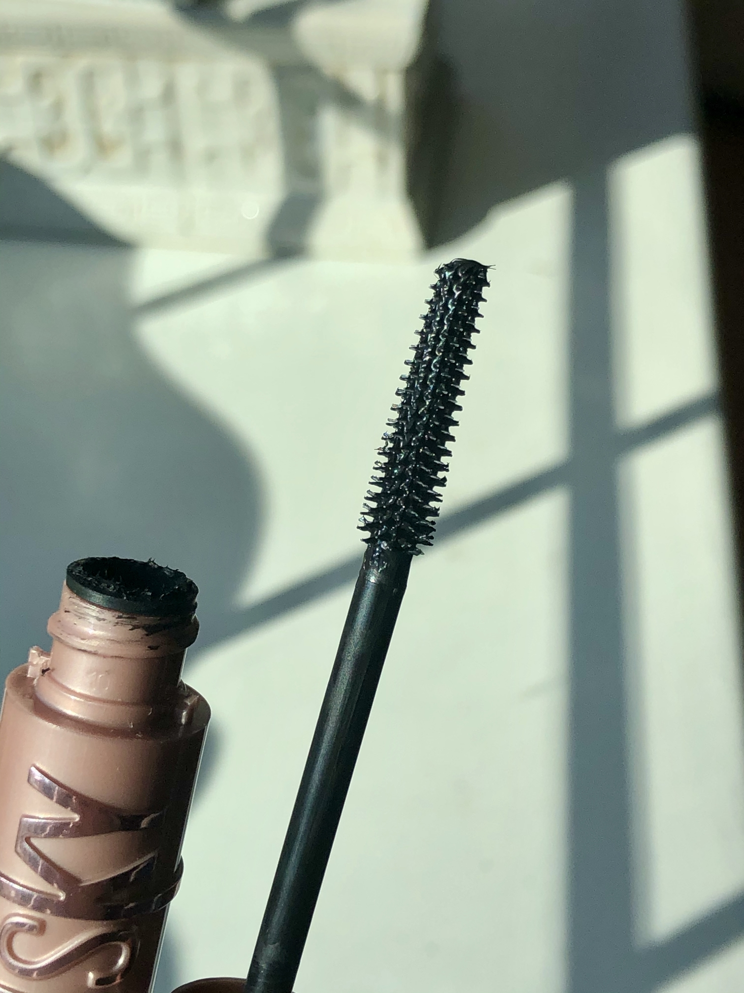 Up close on the brush wand of the Maybelline Sky High Mascara