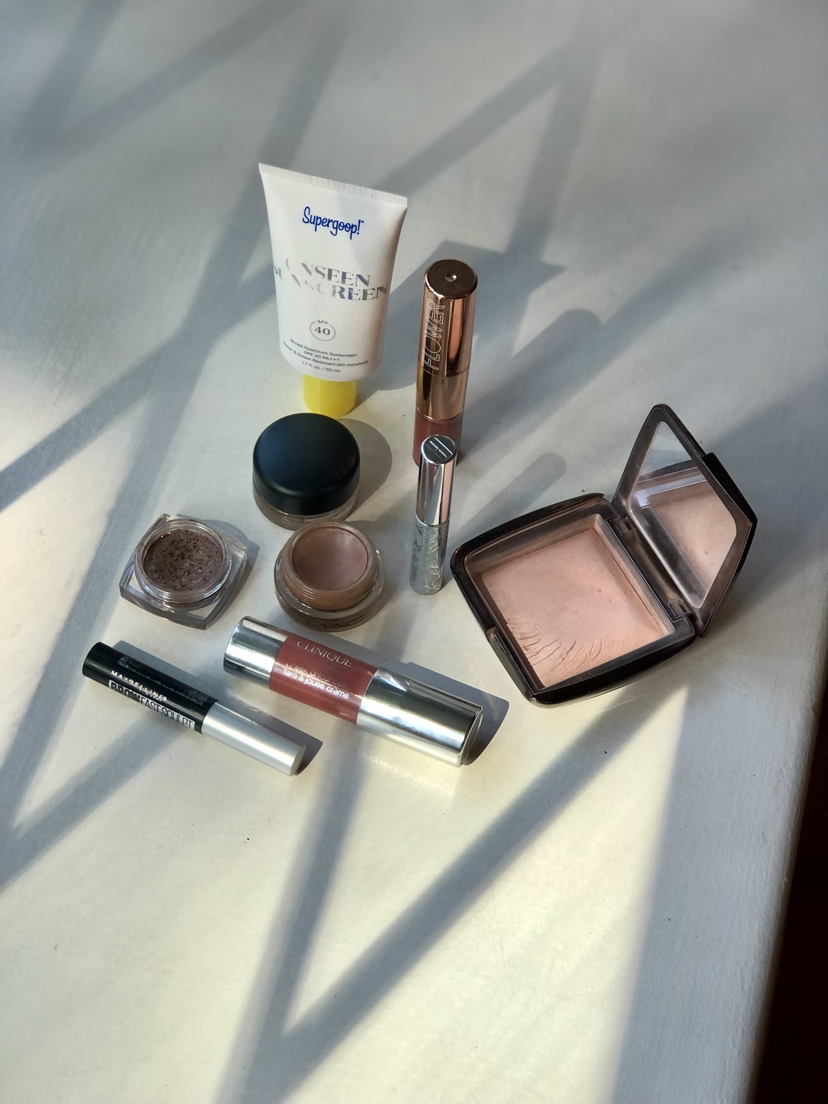 Birds-eye view of some of my favorite products in my makeup collection