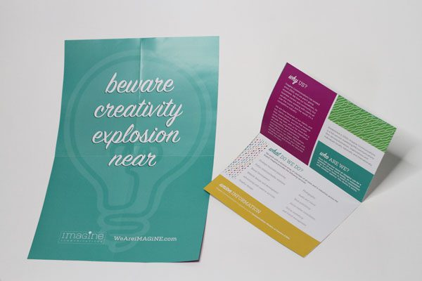 Imagine Comminications branding with brochure poster