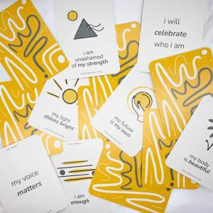 pile of cards with various affirmations