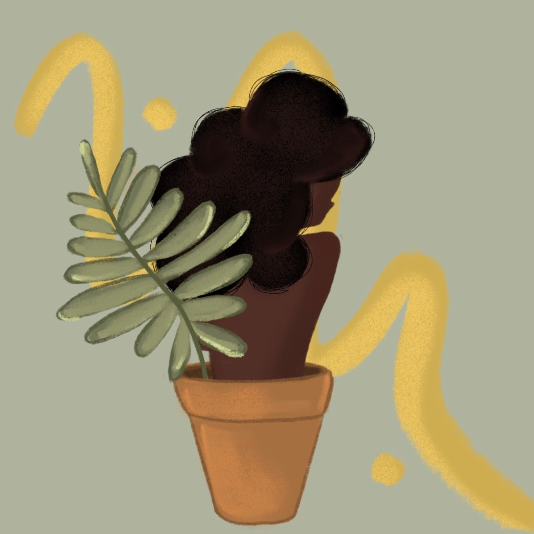 Black woman with afro growing out of a flower pot with a green leaf and yellow swirl in the backgrounf