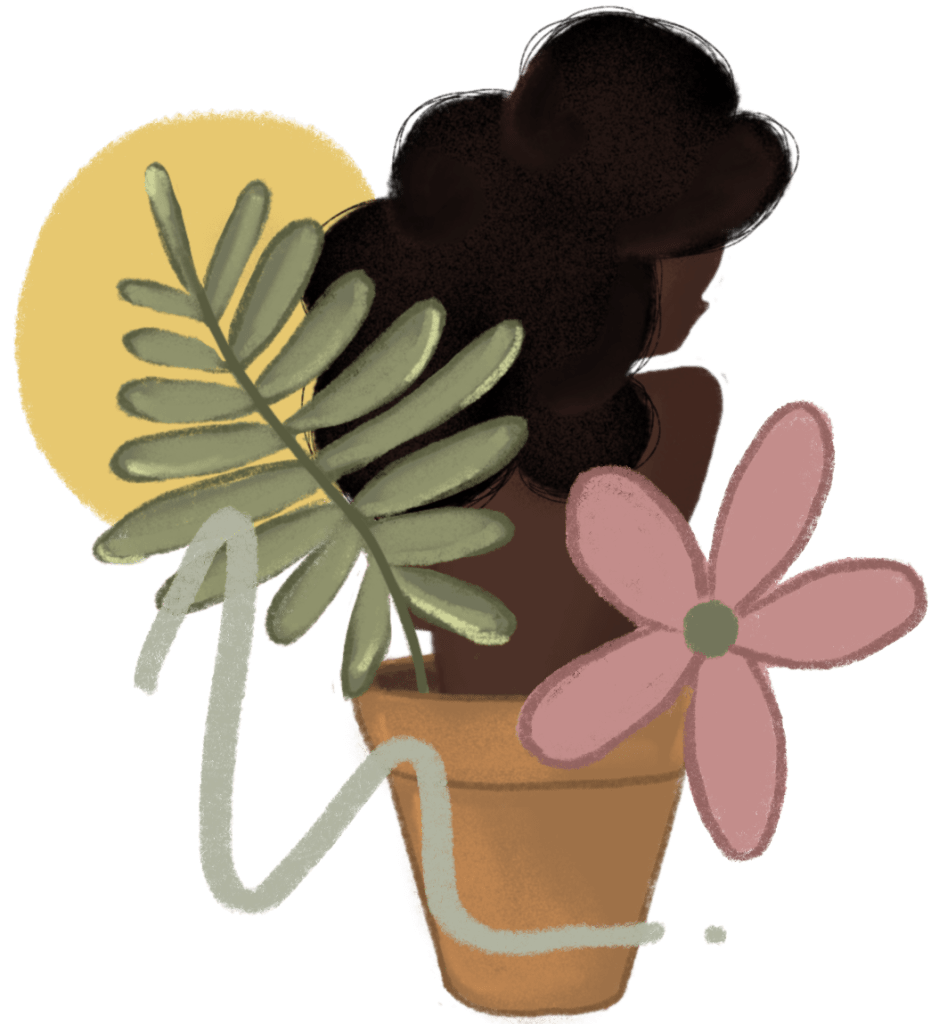 Black woman with afro growing out of a flower pot with a green leaf and yellow swirl in the background