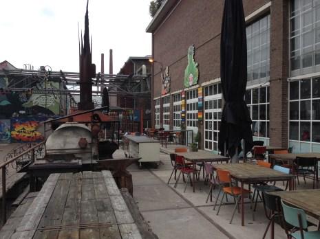 The creative open air area with different restaurants