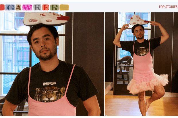 At the Request of Anonymous Gawkers Adrian Chen Poses in a Tutu with a Shoe on his Head  We