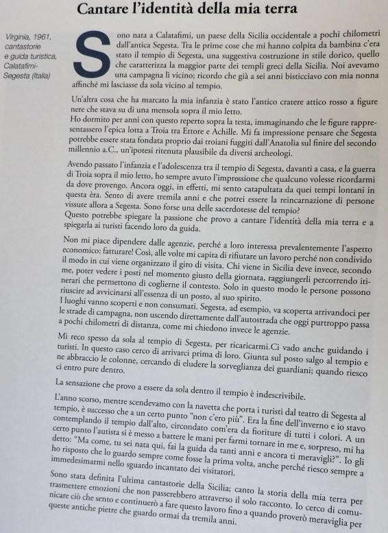 il paragrafo del libro di Bonetti dedicato a Virginia Aloisi e il suo rapporto straordinario con la sua terra, la Sicilia