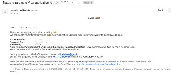 La mail in cui si attesta la vostra richiesta di ETA contiene il vostro Application ID. Tenetelo da parte.