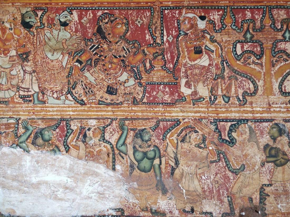 dettaglio di un tempio induista ad Aymenem in Kerala
