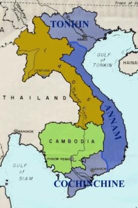 l'indocina francese era divisa tra assam, cambogia, laos, tonchino e Cuang-Ceu ed era retta da un governatore generale