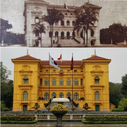 Palazzo del governatore generale entrata di onore (oggi Văn Phòng Chủ Tịch Nước o Presidential Palace)