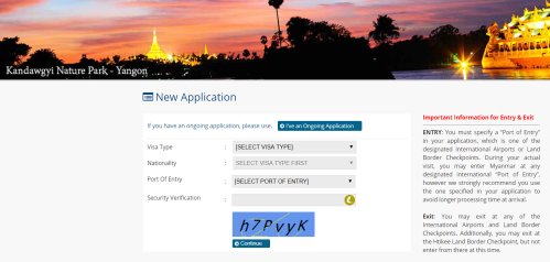 prima schermata del modulo online per la richiesta del visto per il Myanmar (e-visa)