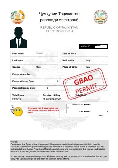 il visto elettronico per il Tajikistan (e-visa) con il GBAO permit