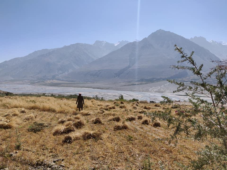La vista scendendo a piedi da Bibi Fatima verso Yamchun. La meraviglia della Wakhan Valley. Poco più in là l'Afghanistan e i picchi innevati del Pakistan.
