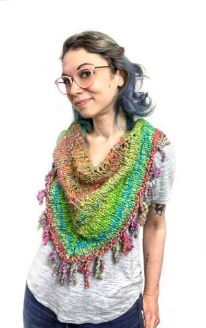 Kinky Yarn Fringe Benefit Shawl