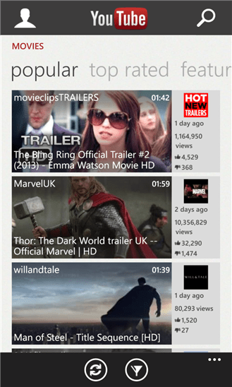application YouTube pour Windows Phone