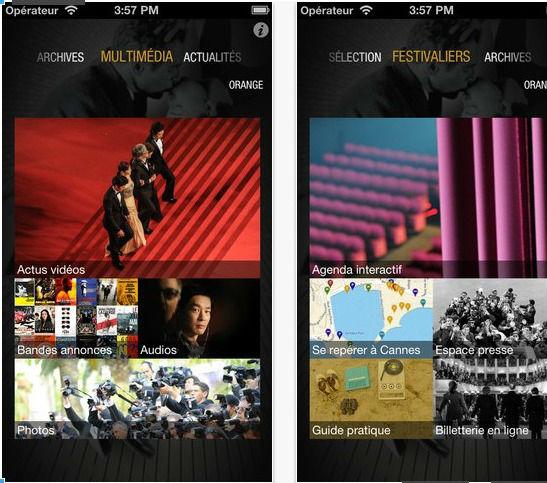 capture écran application iOS du Festival de Cannes 2013