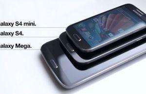 Photo comparative Samsung Galaxy S4 Mini posé sur un S4 et un Mega