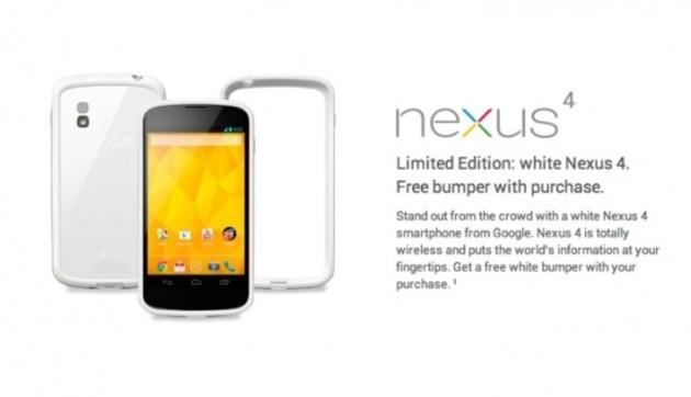 Le Nexus 4 Blanc disponible à la vente depuis Google Playstore USA