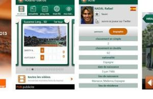 application mobile tournoi de tennis du Grand Chelem Roland Garros 2013