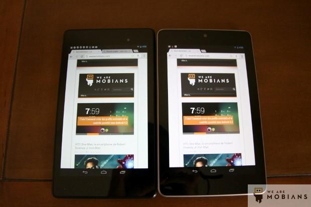 affichage d'une page internet version mobile Nexus 7 version 2013 à gauche et version 2012 à droite