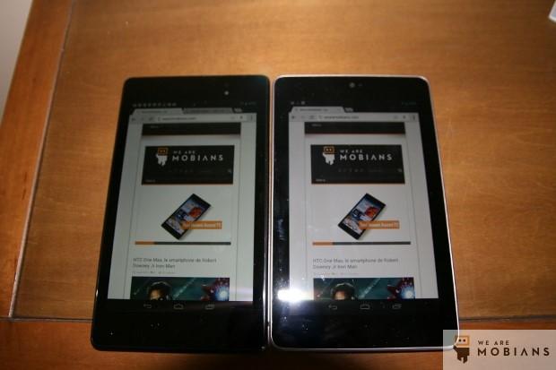 Nouvelle tablette NExus 7 à gauche