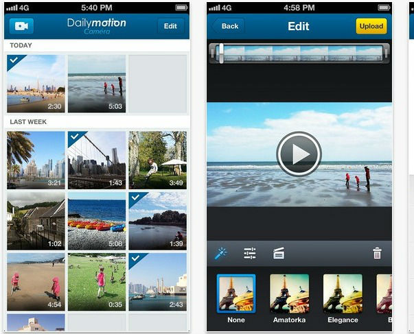 Nouvelle application Dailymotion Caméra pour iPhone