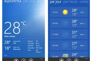 application Bing Météo pour Windows Phone 8