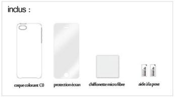 inclus avec la coque Colorant C0, la protection écran