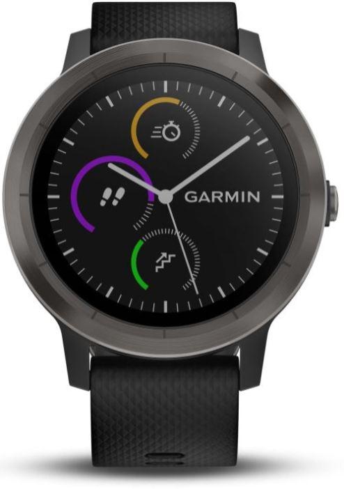 Montre-connectee-de-sport-Garmin-Vivoactive-3-avec-GPS-et-cardio-poignet-Grise-avec-Bracelet-Noir