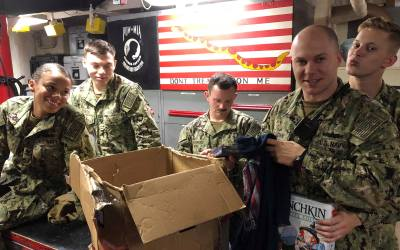 Sailors from the USS Theodore Roosevelt Receive OSD Supply Drop
