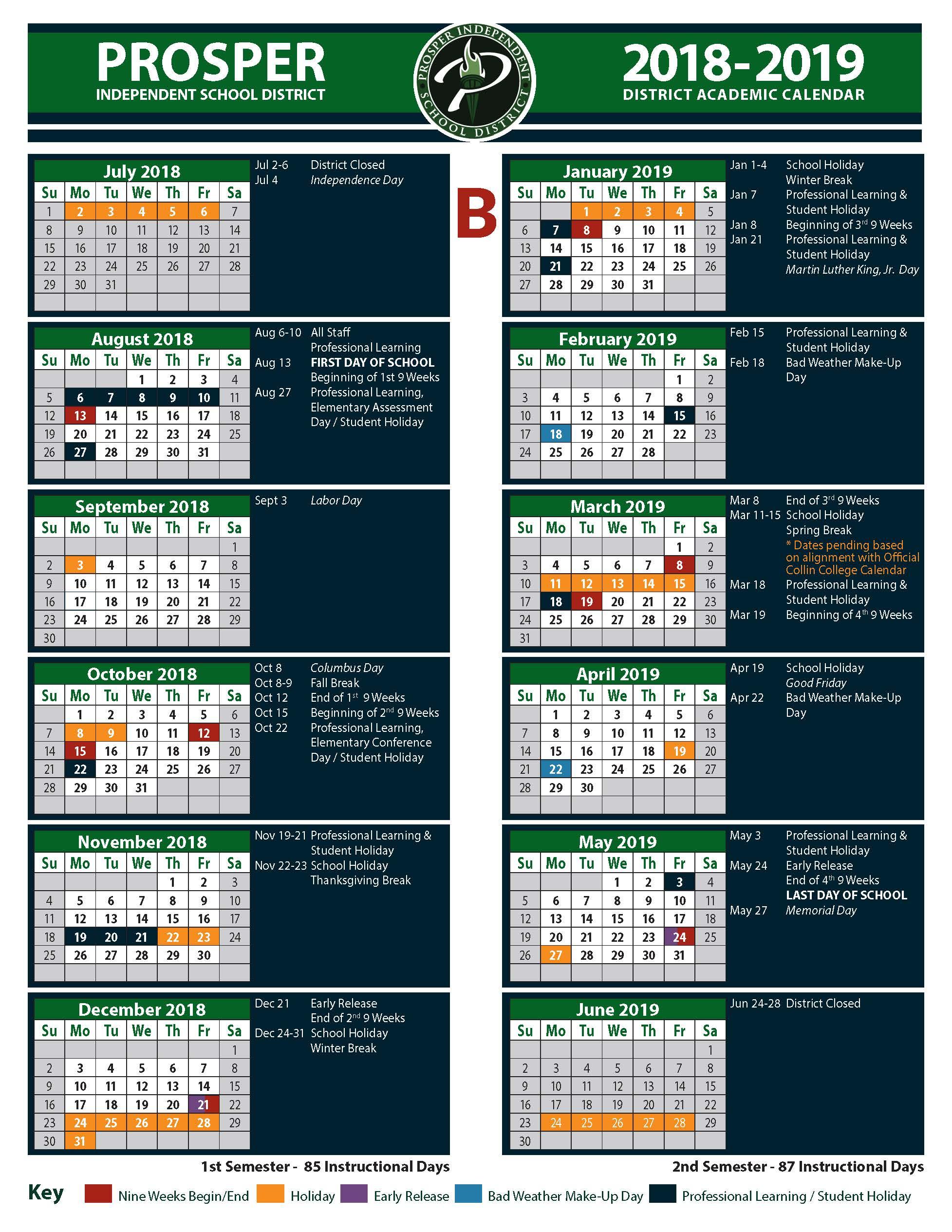 prosper isd calendar 2020
