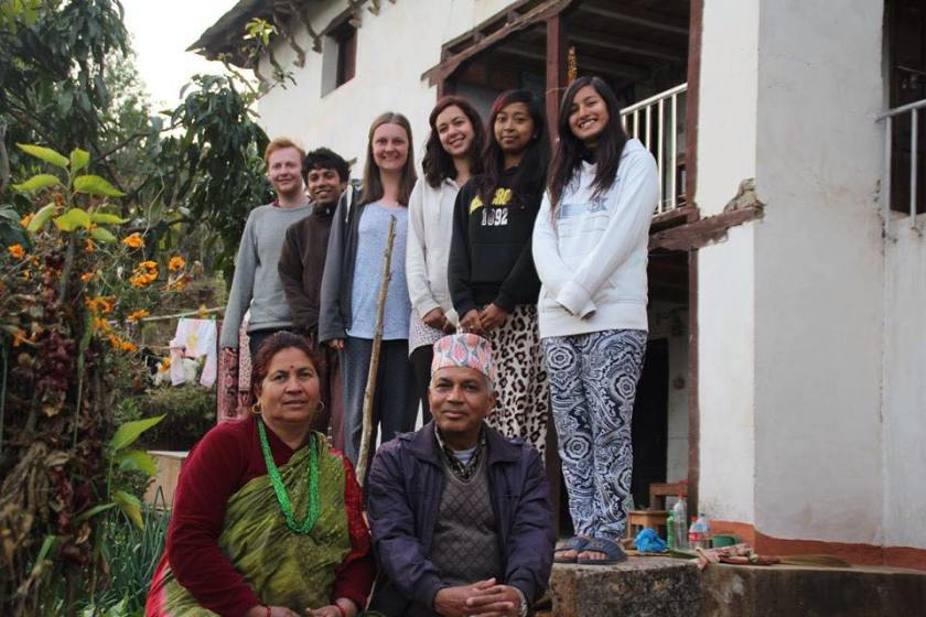 Chloe with her host family in Nepal