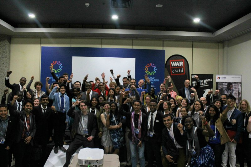 """Participants at the """"Youth at the heart of humanitarian action"""" side event co-hosted by Crown Agents, Restless Development, WarChild UK, Zimbabwe UN Association, Arche noVa and the African Youth International Development Foundation."""