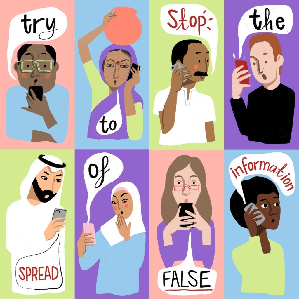 An illustration of 8 different people asking people to try to stop the spread of fake news and conspiracy theories