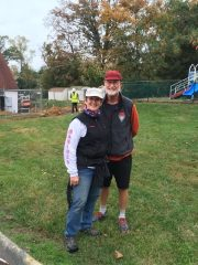 Jo and Larry Hodgin tour the construction site.