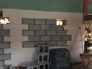 Bricking in the pass-thru window.