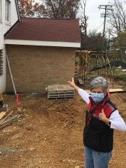 Committee member Linda Cummings admires the new addition.