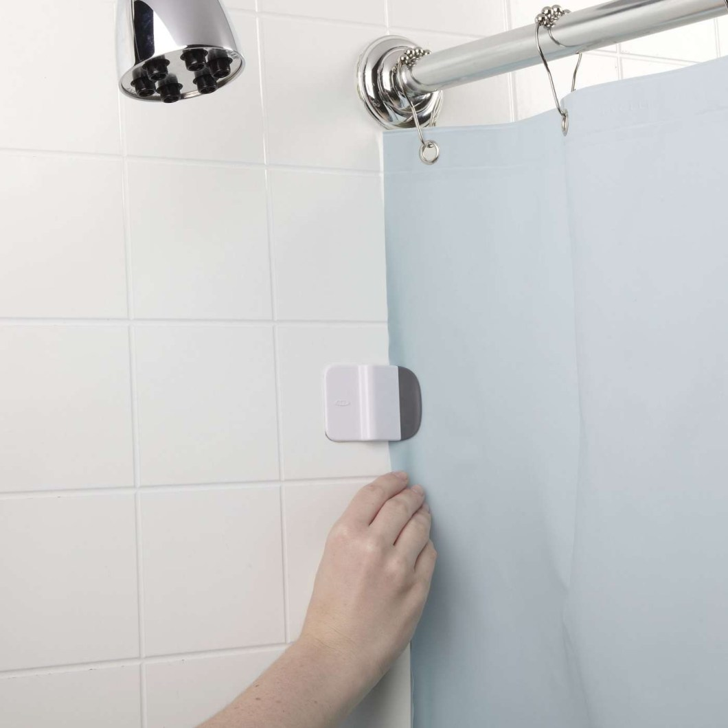 Fabric Shower Curtain Liner With Suction Cups On Sides | www.myfamilyliving.com