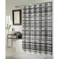 Red And White Vertical Striped Shower Curtain | Curtain ...