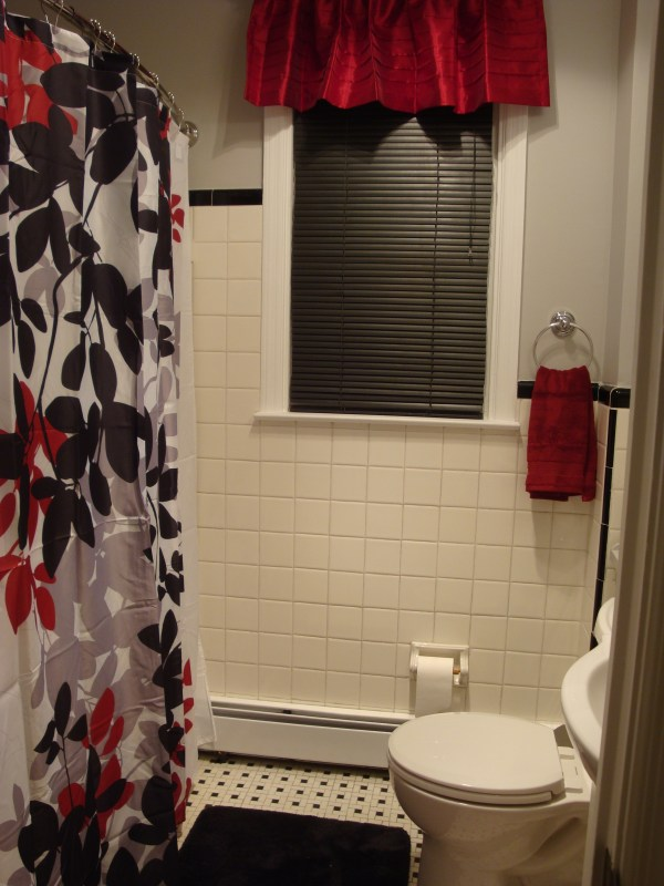 Red Black and White Bathroom with Shower Curtain