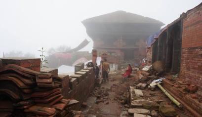 Gorkha durbar in puin na de aarbeving in 2015