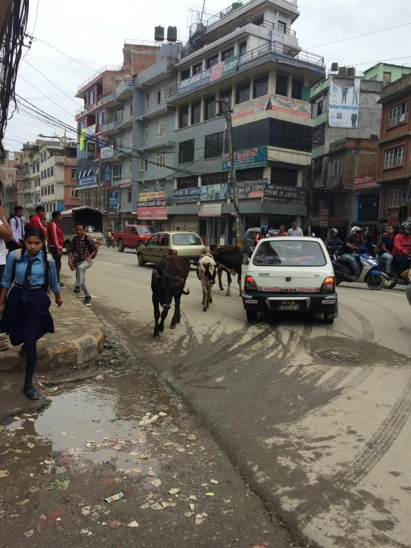 Een straat in Nepal
