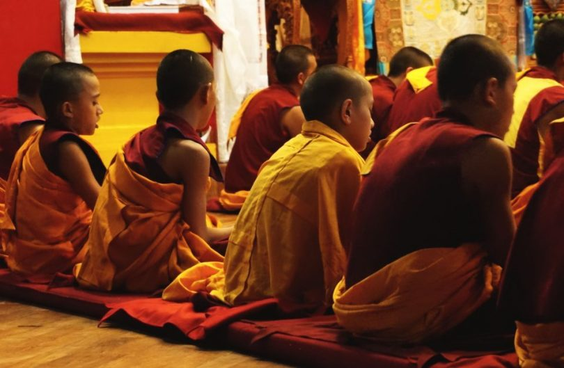 monniken in het Kopan Klooster in Nepal