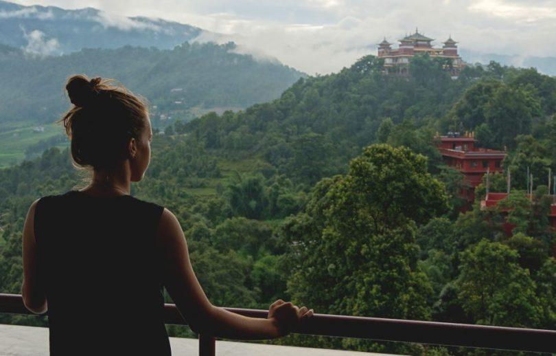 Uitzicht vanaf het Kopan Klooster in Nepal