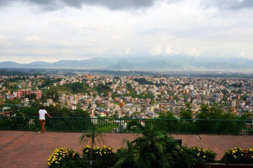 Het uitzicht in het Kopan Klooster in Nepal
