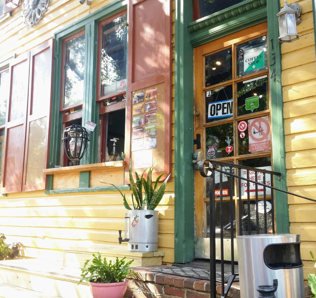 storefront of the lost dog coffee shop in shepherdstown west virginia.